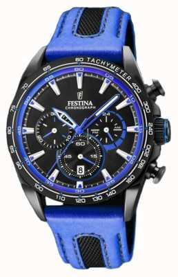 Festina Mens Sport Chronograph blaues Lederarmband schwarzes Zifferblatt F20351/2
