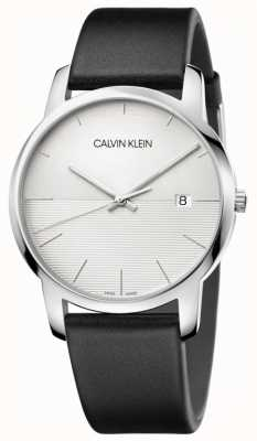 Calvin Klein Mens schwarzes Lederarmband silbernes Zifferblatt K2G2G1CD