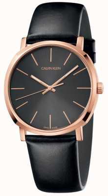 Calvin Klein Herrenuhr aus schwarzem Leder in Roségold K8Q316C3