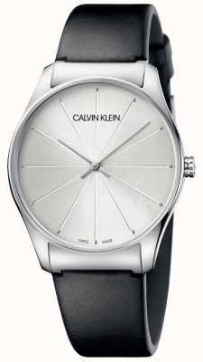 Calvin Klein Damenuhr aus schwarzem Leder mit silbernem Zifferblatt K4D211C6