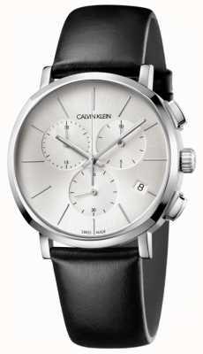 Calvin Klein Herrenuhr aus schwarzem Leder mit silbernem Zifferblatt K8Q371C6