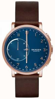 Skagen Hagen verbunden smart Uhr braun Lederarmband blaues Zifferblatt SKT1103