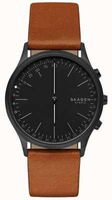 Skagen Jorn verbunden Smart Watch braunes Lederarmband schwarzes Zifferblatt SKT1202