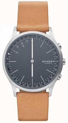 Skagen Jorn verbunden Smart Watch braunes Lederarmband blaues Zifferblatt SKT1200