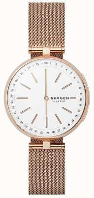 Skagen Signatur verbundenes intelligentes Uhr Roségold Mesh weißes Zifferblatt SKT1404