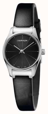 Calvin Klein Klassisches schwarzes Zifferblatt schwarzes Lederarmband Edelstahlgehäuse K4D231CY