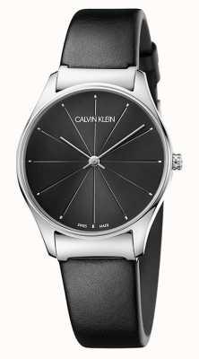 Calvin Klein Ladies klassisches schwarzes Lederarmband K4D221CY