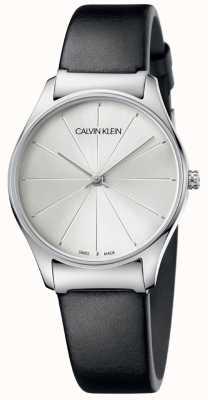 Calvin Klein Klassisches schwarzes Lederarmband silbernes Zifferblatt K4D221C6