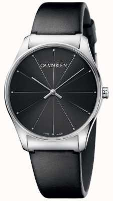 Calvin Klein Klassisches schwarzes Lederarmband schwarzes Zifferblatt K4D211CY