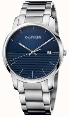 Calvin Klein Stadt Edelstahlarmband blaues Zifferblatt K2G2G14Q