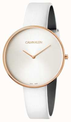 Calvin Klein Damenarmbanduhr Vollmond weißes Leder K8Y236L6