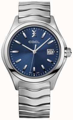 EBEL Datumsanzeige des wellenblauen Zifferblatts des Edelstahlarmbandes der Männer 1216238