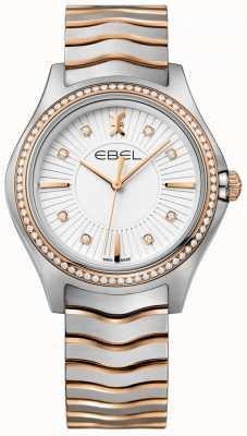 EBEL Frauen-Diamant-Welle weißes Zifferblatt zweifarbig Armband 1216319