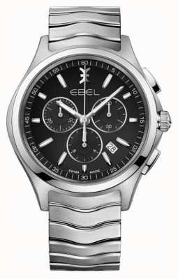EBEL Herren Chronograph schwarz Zifferblatt Edelstahl Silber Gehäuse 1216342