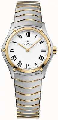 EBEL Damen Sport klassisches weißes Zifferblatt zweifarbiges Armband Edelstahl 1216387A