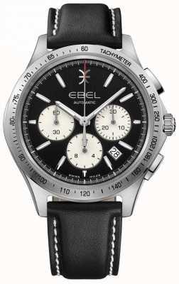 EBEL Automatischer Herren-Chronograph mit schwarzem Zifferblatt aus schwarzem Leder 1216404