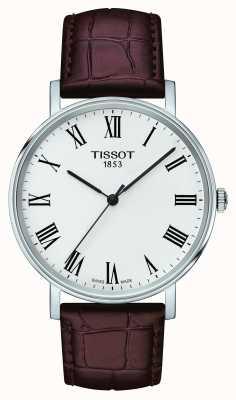 Tissot Mens jederzeit Medium braun Lederband weißes Zifferblatt T1094101603300