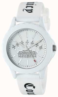 Juicy Couture Damenuhr aus weißem Silikon mit weißer Krone JC-1001WTWT