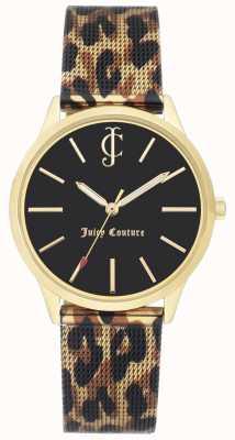 Juicy Couture Lederarmband mit Leopardenmuster und schwarzem Zifferblatt JC-1014GPLE