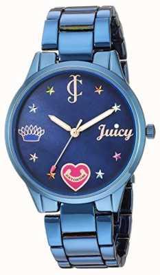 Juicy Couture Blaues Stahlarmband für Damen | farbige Markierungen | blaues Zifferblatt JC-1017BMBL
