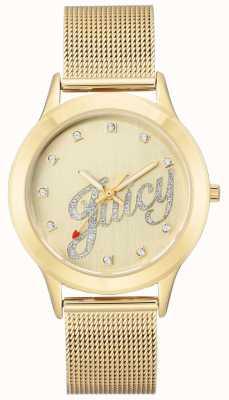 Juicy Couture Saftige Skriptuhr aus goldfarbenem Mesh-Armband für Damen JC-1032CHGB