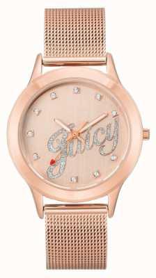 Juicy Couture Womens Roségold Ton Mesh Armband saftigen Skript Uhr JC-1032RGRG