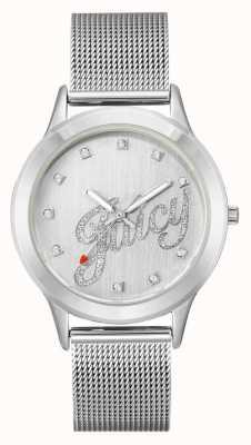 Juicy Couture Silberfarbenes Armband für Damen aus silberfarbenem Safran JC-1033SVSV