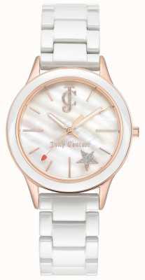 Juicy Couture Weißes Armband der Damen weißes Zifferblatt aus Roségold JC-1048WTRG
