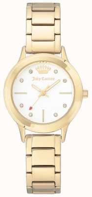 Juicy Couture Damen Armband aus goldfarbenem Edelstahl mit weißem Zifferblatt JC-1050WTGB