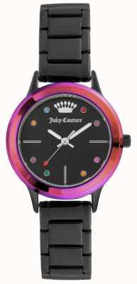 Juicy Couture Schwarzes schwarzes Armband der Damen mit farbiger Lünette JC-1051MTBK