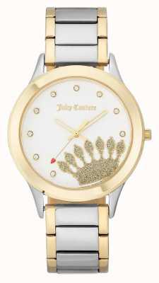 Juicy Couture Goldfarbenes Damen Zifferblatt und zweifarbiges Armband JC-1053WTTT