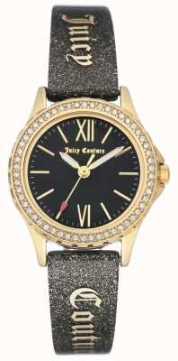 Juicy Couture Schwarzes, saftiges Armband für Damen in Goldfarben JC-1068BKBK