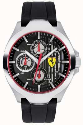 Scuderia Ferrari Schwarzes Chronographenzifferblatt mit schwarzem Kautschukband 0830510