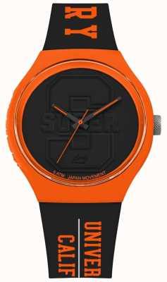 Superdry Urban xl varsity mattes schwarzes Zifferblatt schwarzes Armband orange SYG240BO