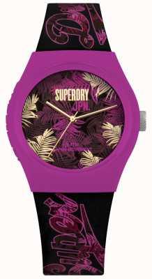 Superdry Urban tropicana lila und rosa Blatt Druck Zifferblatt lila Armband SYL247BP