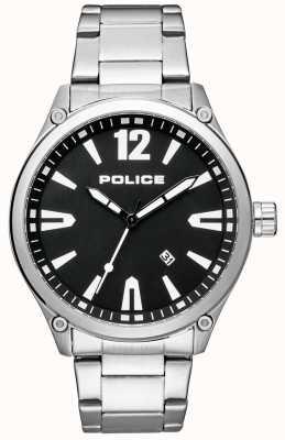 Police Elegantes Armband aus Edelstahl mit schwarzem Zifferblatt 15244JBS/02M