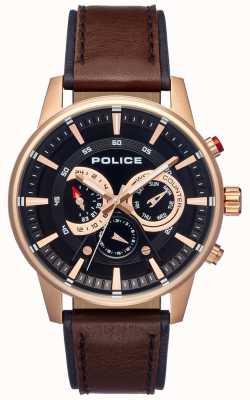 Police Schickes braunes Herrenarmband mit schwarzem Lederarmband PL.15523JSR/02