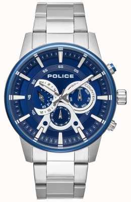 Police Mens smart style Edelstahlarmband blaues Zifferblatt PL.15523JSTBL/03M