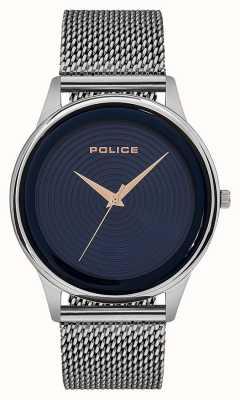 Police Intelligentes Herren Edelstahlgewebe Armband blaues Zifferblatt PL.15524JS/03MM