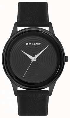 Police Herren Smart Style schwarzes Lederarmband schwarzes Zifferblatt PL.15524JSB/02