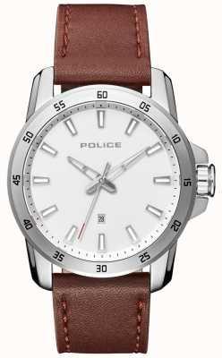 Police Mens Smart Style braun Lederband silbernes Zifferblatt PL.15526JS/04