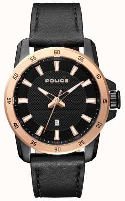 Police Herren Smart Style schwarzes Lederarmband schwarzes Zifferblatt PL.15526JSBR/02