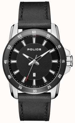 Police Herren Smart Style schwarzes Lederarmband schwarzes Zifferblatt PL.15526JSTB/02