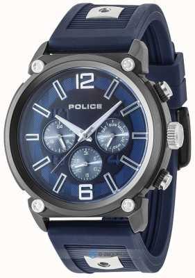 Police Mens Rebell Stil 2 Ton Silikonband blaues Zifferblatt PL.15049JSU/03P