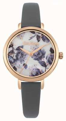 Cath Kidston Graues Armband für Damen aus roségoldfarbenem Gehäuse mit Mohndruck CKL060ERG