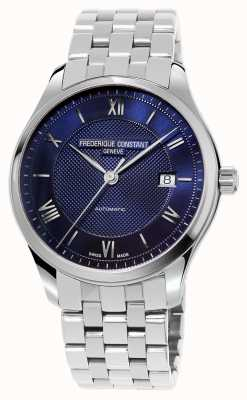 Frederique Constant Herrenindex blaues Zifferblatt Edelstahlarmband FC-303MN5B6B