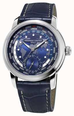 Frederique Constant Herren Hersteller Worldtimer blauen Zifferblatt blauen Gurt FC-718NWM4H6
