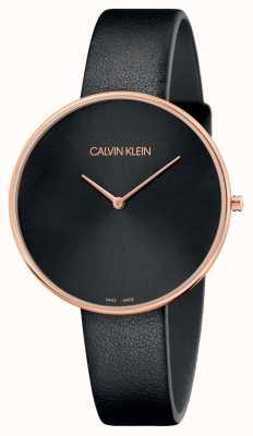 Calvin Klein Vollmond-Roségold-Schwarzlederband für Damen K8Y236C1