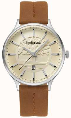 Timberland Herrenarmband aus Marmor, beige Lederband beige TBL.15488JS/07