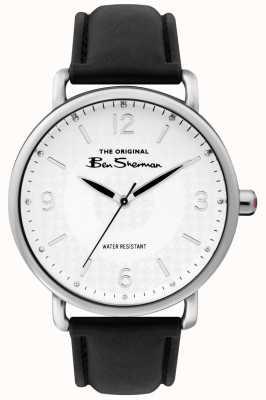 Ben Sherman Mens matt weißes Zifferblatt schwarzes Armband silbernes Stahlgehäuse BS015B